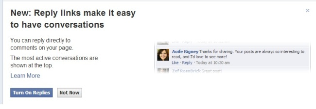 Replies Feature on Facebook
